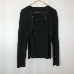 Venini black long sleeve pullover sweater size M